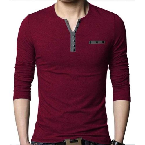 Try This Color Block Men Asymmetric Neck Maroon T-Shirt