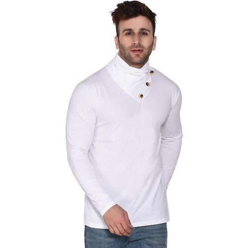 Geum Solid Men Asymmetric Neck White T-Shirt