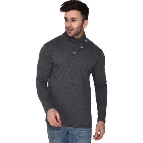 Geum Solid Men Asymmetric Neck Grey T-Shirt
