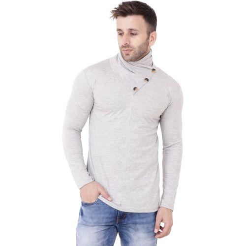 Lawful Casual Self Design Men Asymmetric Neck Grey T-Shirt