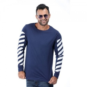 Rodid Solid, Printed Men Boat Neck Dark Blue T-Shirt