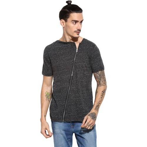 Campus Sutra Solid Men Boat Neck Grey T-Shirt