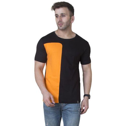 Veirdo Solid Men Boat Neck Black, Orange T-Shirt