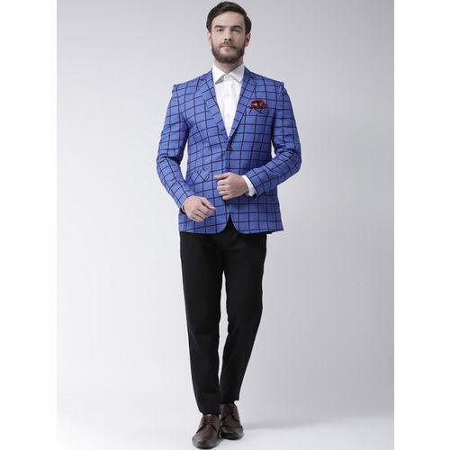 Hangup Men Blue Checked Regular Fit Single-Breasted Blazer
