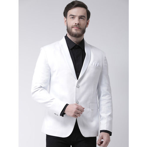 Hangup Men White Self Design Tuxedo Blazer