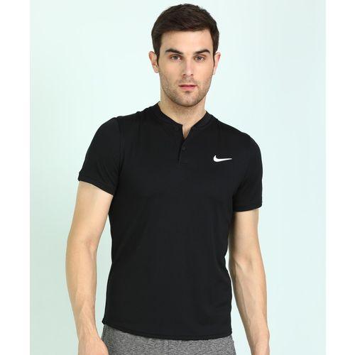 Nike Solid Men Henley Neck Black T-Shirt