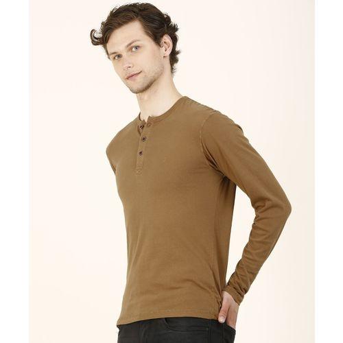 Indian Terrain Solid Men Henley Neck Brown T-Shirt