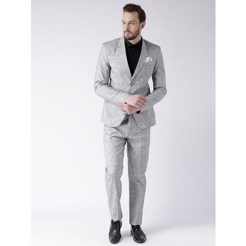 hangup Grey Polyester Textured Single-Breasted Blazer