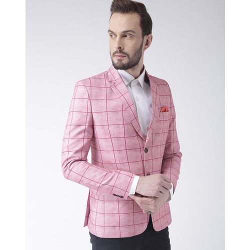 hangup Checked Single-Breasted Blazer with Notched Lapel