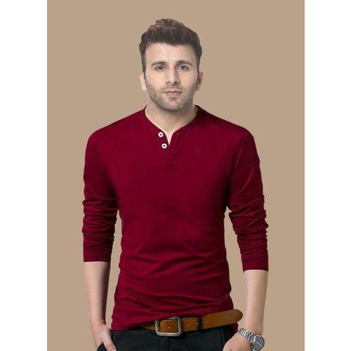 Reya Solid Men Henley Neck Maroon T-Shirt