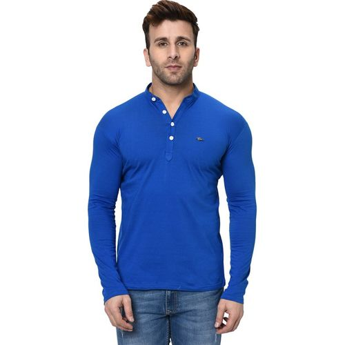 Fashitude Solid Men Henley Neck Blue T-Shirt