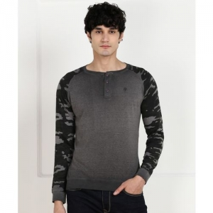 Pepe Jeans Color Block Men Henley Neck Grey T-Shirt