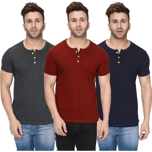 London Hills Solid Men Henley Neck Maroon, Grey, Dark Blue T-Shirt(Pack of 3)