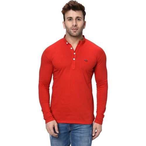 Fashitude Solid Men Henley Neck Red T-Shirt