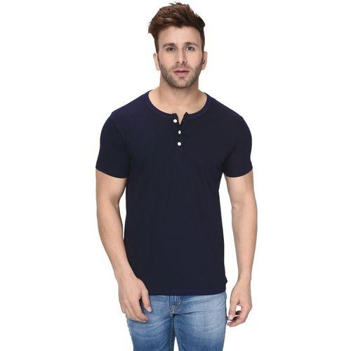 London Hills Solid Men Henley Neck Dark Blue T-Shirt