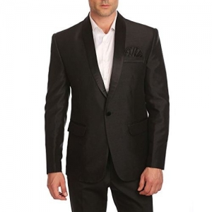 Wintage Men's Poly-Satin Single Button Shawl Collar Festive Black Blazer- Three Colors