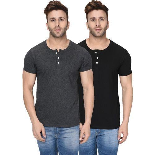 London Hills Solid, Self Design Men Henley Neck Grey, Black T-Shirt(Pack of 2)