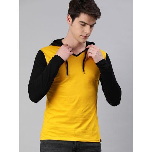 Urbano Fashion Solid Men Hooded Neck Yellow, Black T-Shirt