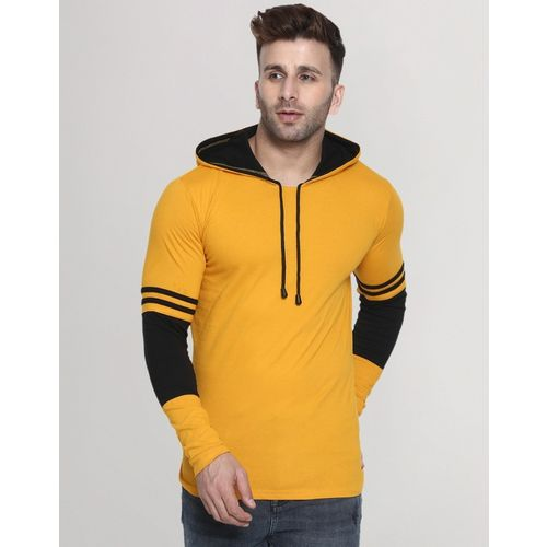 Helmont Mustard Cotton Solid Hooded Neck T-Shirt