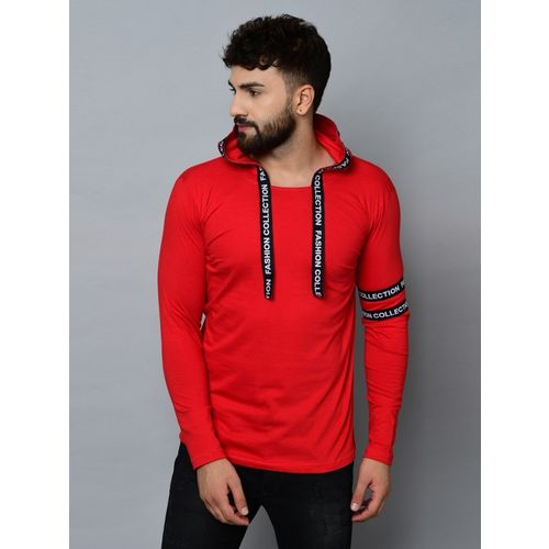 Kay Dee Typography Red Cotton Solid Hooded Neck T-Shirts