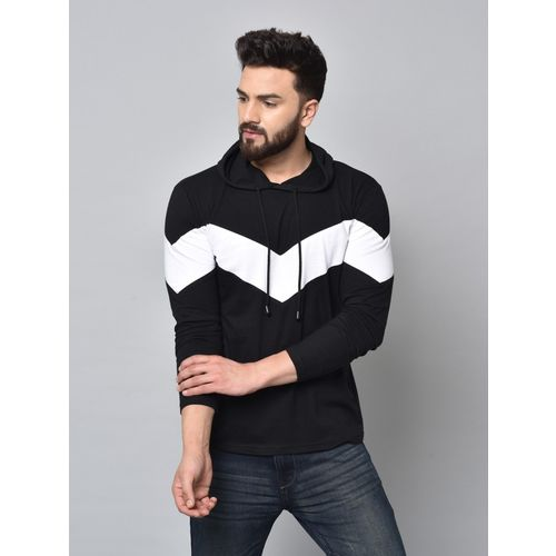 KAY DEE Black Cotton Colour Block Hooded Neck T-Shirts