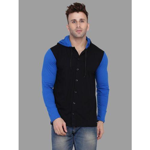 Tfurnish Solid Men Hooded Neck Black, Blue T-Shirt