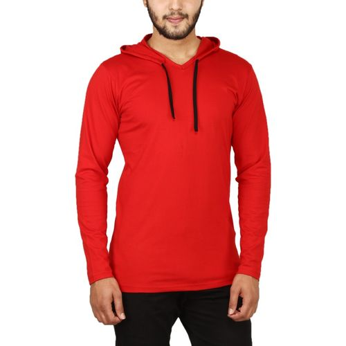 NxtSkin Solid Men Hooded Neck Red T-Shirt
