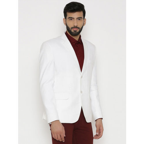 Wintage White Checked Single-Breasted Tailored Fit Linen Formal Blazer
