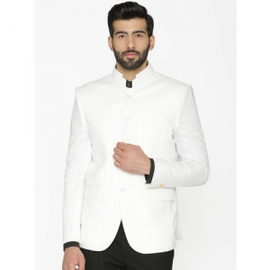 Wintage Men White Solid Tailored-Fit Linen Bandhgala Blazer
