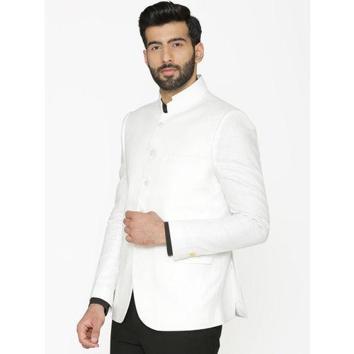Wintage Men White Solid Tailored-Fit Linen Bandhgala Blazer