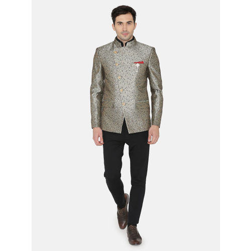 Wintage Men Grey Printed Single-Breasted Tailored Fit Ethnic Bandhgala Blazer