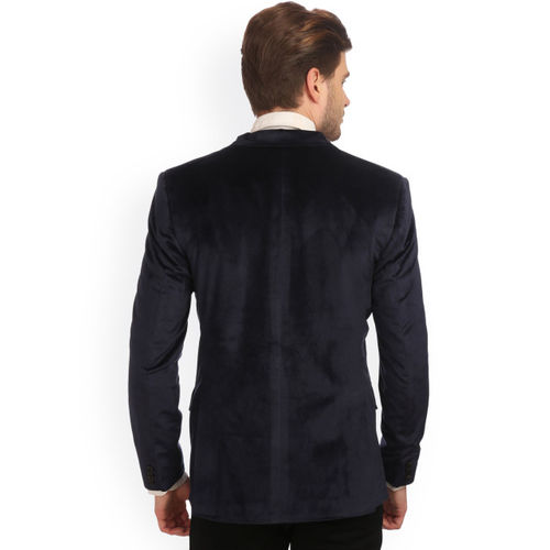 Wintage Men Blue Single-Breasted Velvet Finish Tailored Fit Party Blazer