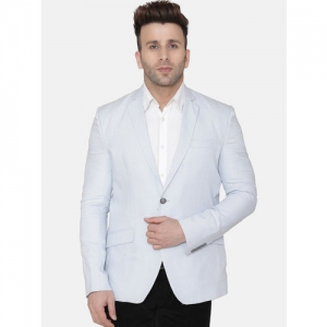 Wintage Men Blue Solid Regular-Fit Single-Breasted Blazer
