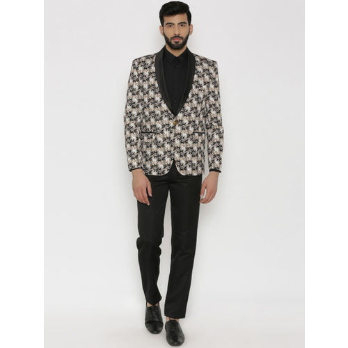 Wintage Men Multicoloured Printed Regular Fit Tuxedo Blazer