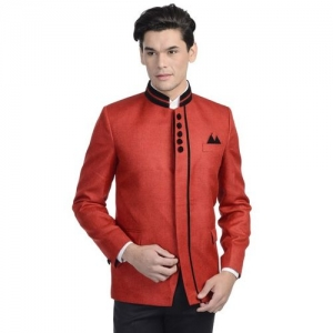 Wintage Red Single-Breasted Tailored Fit Ethnic Bandhgala Blazer
