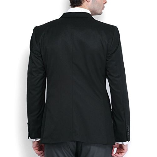 Shaftesbury London Mens Slim Fit Cotton Formal Blazer Single Breast Jacket(Black,Parent)