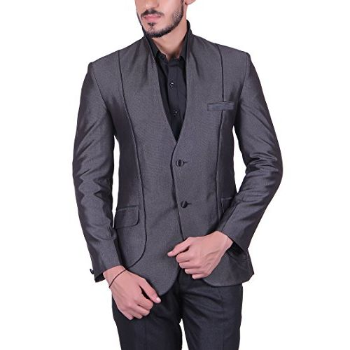 Shaftesbury London Mens Slim Fit Cotton Formal Blazer Single Breast Jacket(Grey,Parent)