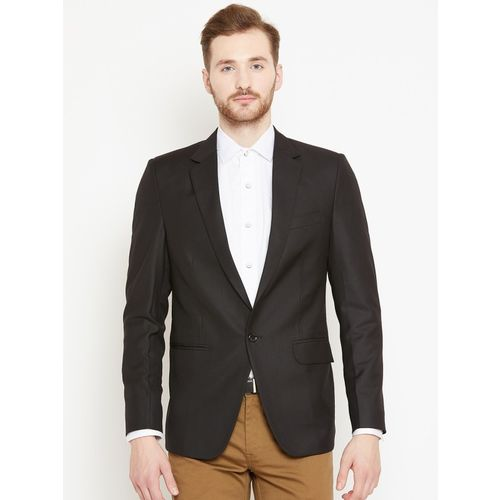 Shaftesbury London Solid Single Breasted Formal, Wedding Men Blazer(Black)