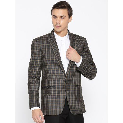 Shaftesbury London Checkered Single Breasted Festive, Lounge Wear, Party, Formal, Casual, Wedding Men Blazer(Grey)