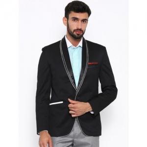 Shaftesbury London Striped, Solid, Checkered Single Breasted Festive, Formal, Casual, Wedding Men Blazer(Black)