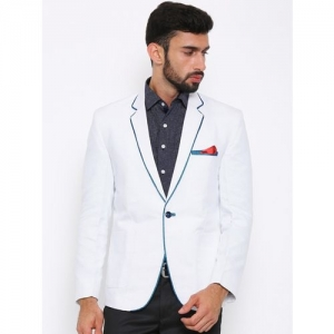 Shaftesbury London Striped, Solid, Checkered Single Breasted Festive, Formal, Casual, Wedding Men Blazer(White)