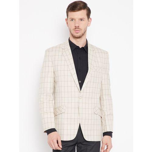 Shaftesbury London Checkered Single Breasted Festive, Lounge Wear, Party, Formal, Casual, Wedding Men Blazer(Beige)