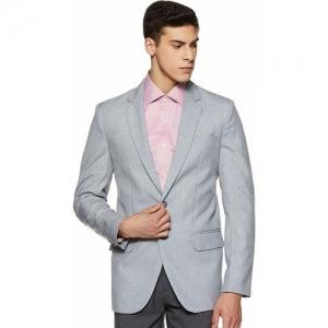 Shaftesbury London Solid Single Breasted Formal, Wedding Men Blazer(Grey)