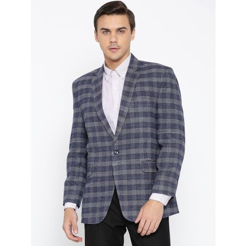Shaftesbury London Checkered Single Breasted Festive, Lounge Wear, Party, Formal, Casual, Wedding Men Blazer(Blue)