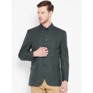 Shaftesbury London Solid Mandarin Festive, Lounge Wear, Party, Formal, Casual, Wedding Men Blazer(Green)