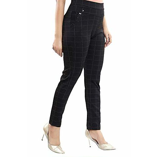 Z-JAIP Checks/Dotted Trouser Pants Stretchable High Waist Ankel Length Jeggings for Girls & Women Free Size (28 to 32) Waist