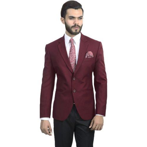 ManQ Solid Single Breasted Formal, Wedding Men Blazer(Red)