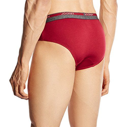 Jockey Men's Cotton Brief (8037-0110- Red Wine M)(Color May Vary)