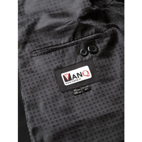 MANQ Men Black Slim Fit Solid Single Breasted Formal Blazer