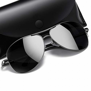 Simsco Polarized Aviator Black Sunglasses with TAC Material Sunglasses For Men Latest and Sunglasses For men Stylish Wayfarer Sunglasses for Medium size